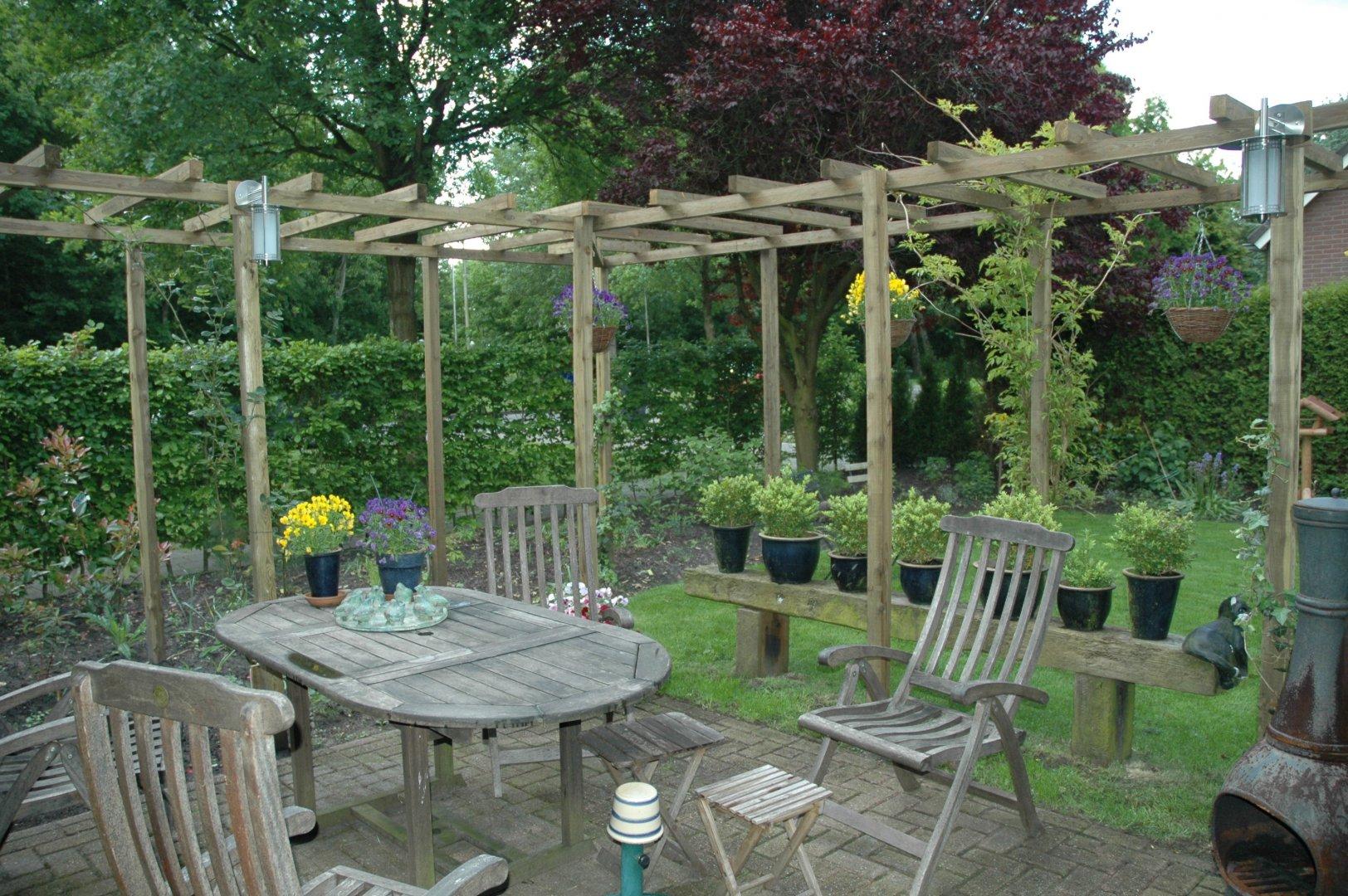 houten pergola om het terras drupal On afmeting zwembad in tuin